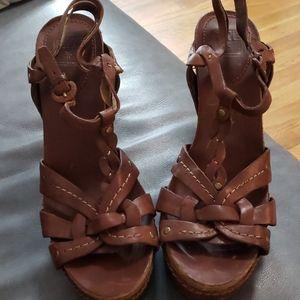 Frye leather platform heels sandals